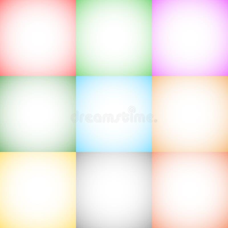 9 fundos quadrados monocromáticos do formato do inclinação radial/backdro ilustração do vetor