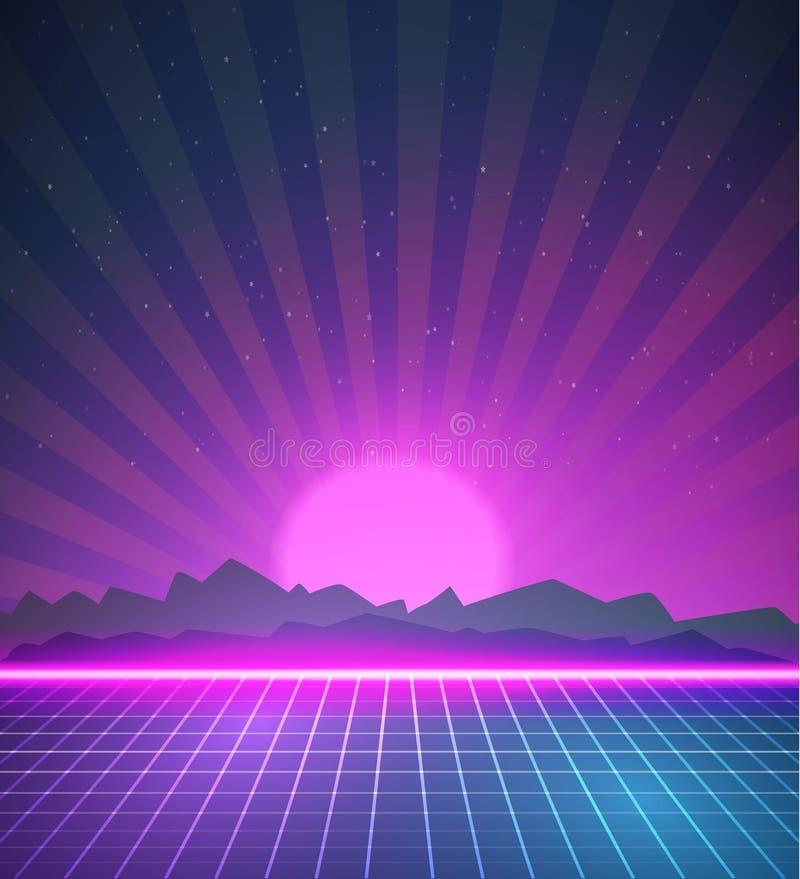 1980 fundos retros do disco 80s do cartaz de néon feitos no estilo w de Tron ilustração stock