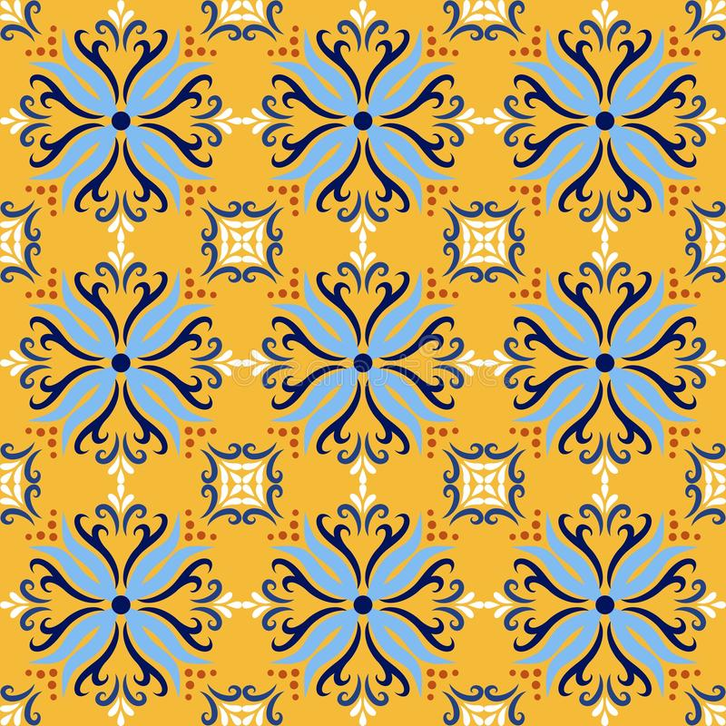 Fundos sem emenda do teste padrão do azulejo italiano amarelo Azulejos decorativos ornamentados tradicionais das telhas da cor de ilustração stock