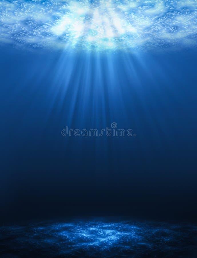 Fundos subaquáticos abstratos verticais do raio de sol no mar ilustração stock