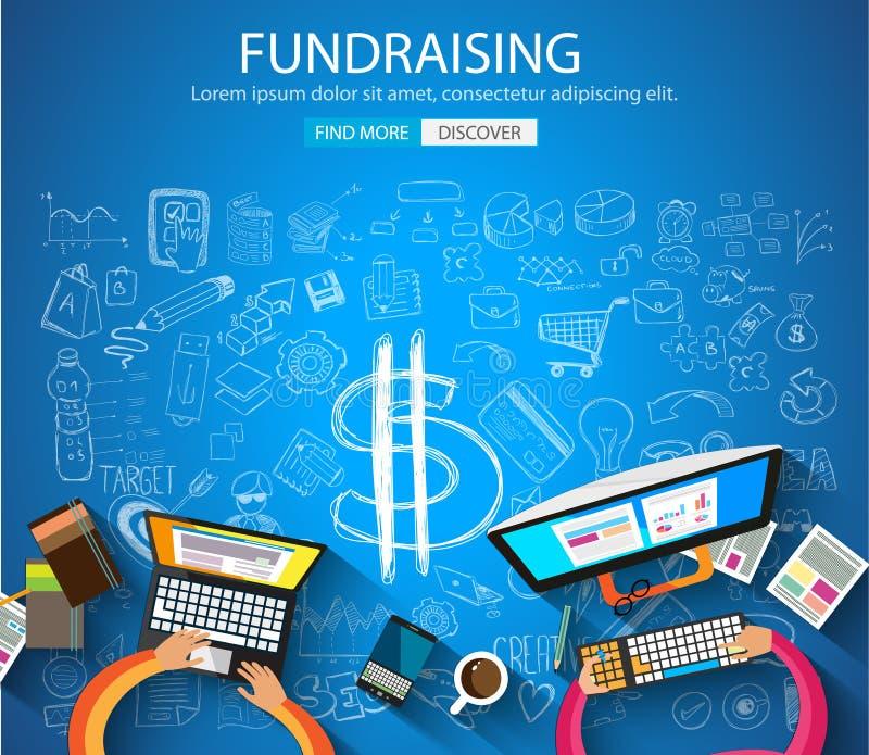 Fundraising концепция с стилем дизайна Doodle иллюстрация штока