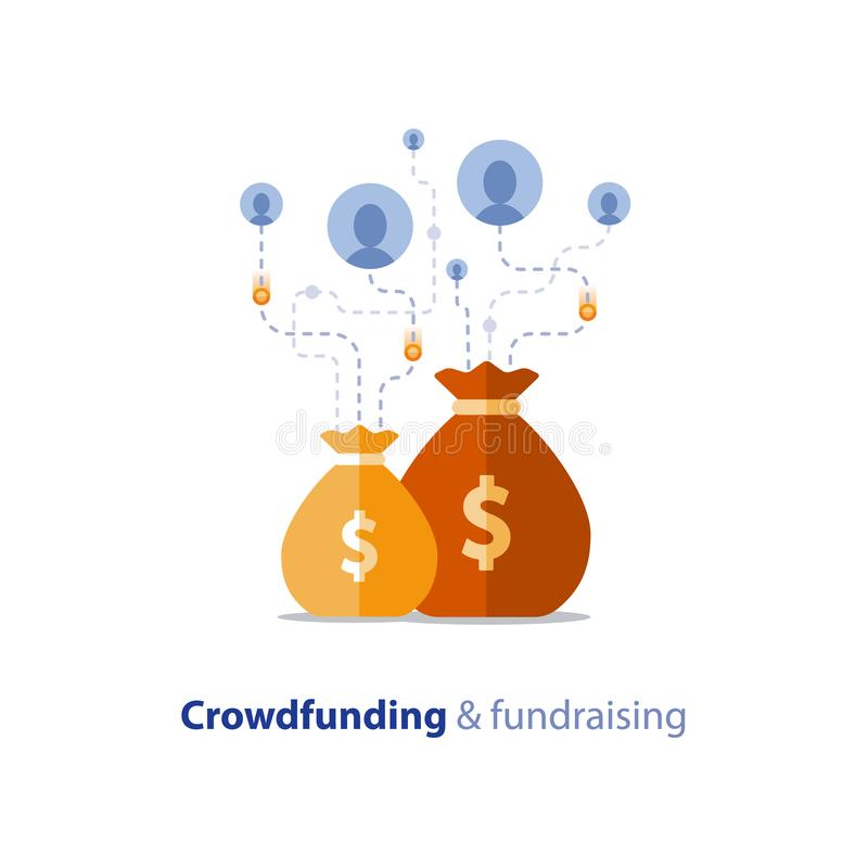 Fundraising aktion, crowdfunding begrepp vektor illustrationer