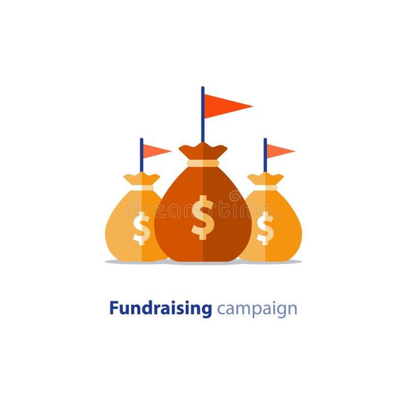 Fundraising aktion, crowdfunding begrepp, välgörenhetdonation, vektorillustration royaltyfri illustrationer