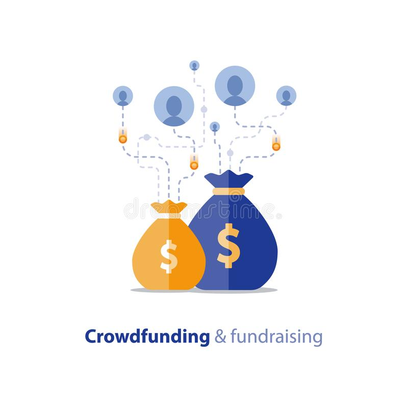 Fundraising aktion, crowdfunding begrepp, välgörenhetdonation, vektorillustration stock illustrationer