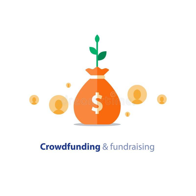 Fundraising aktion, crowdfunding begrepp, v?lg?renhetdonation, vektorillustration stock illustrationer
