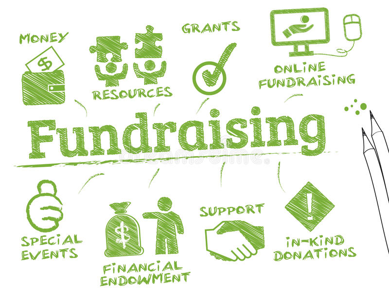 Fundraising chart. Fundraising. Chart with keywords and icons vector illustration