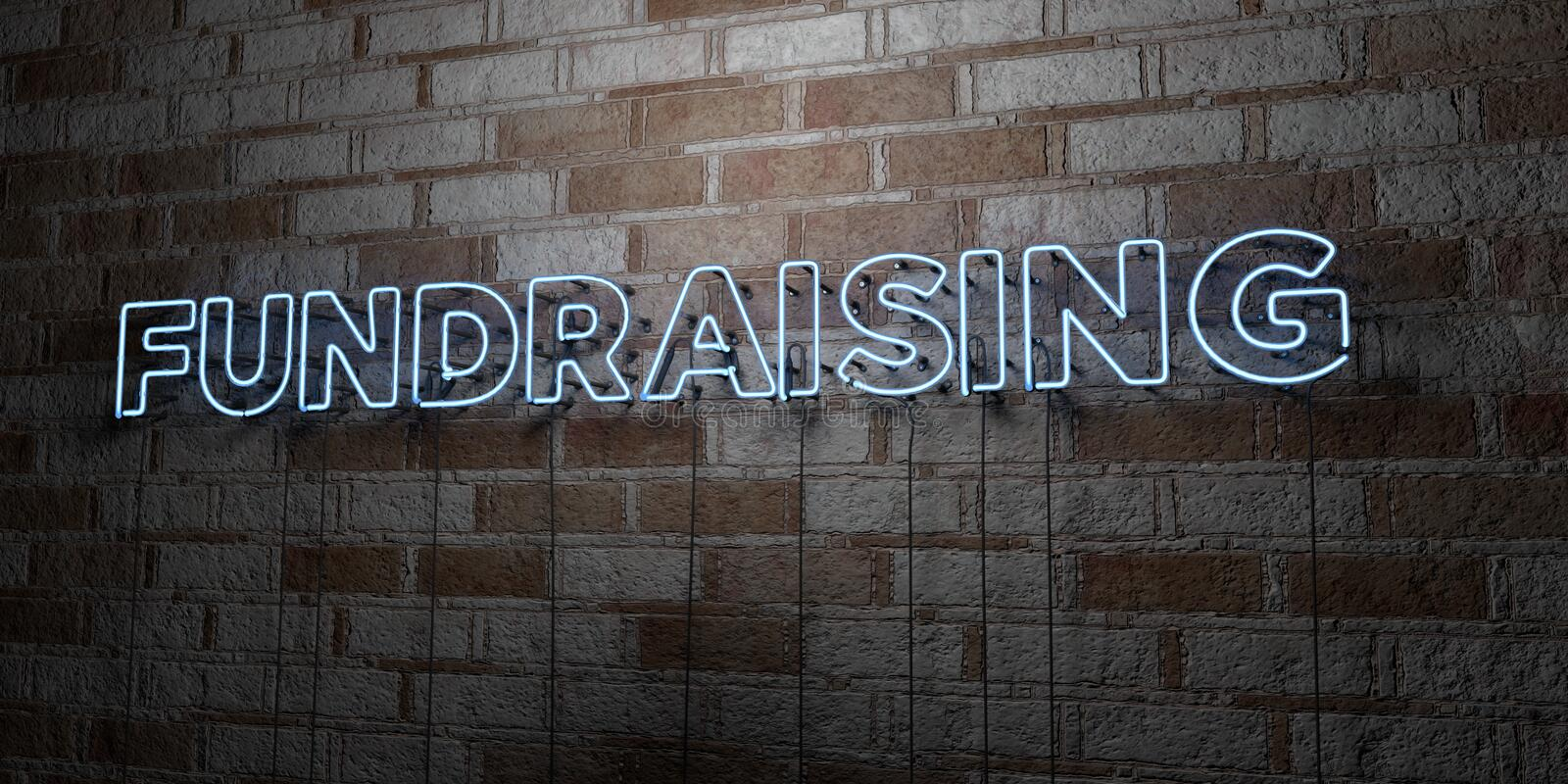 FUNDRAISING - Glowing Neon Sign on stonework wall - 3D rendered royalty free stock illustration. Can be used for online banner ads and direct mailers royalty free illustration