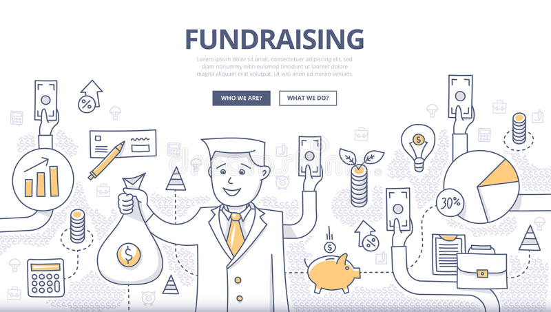 Fundraising klotterbegrepp stock illustrationer