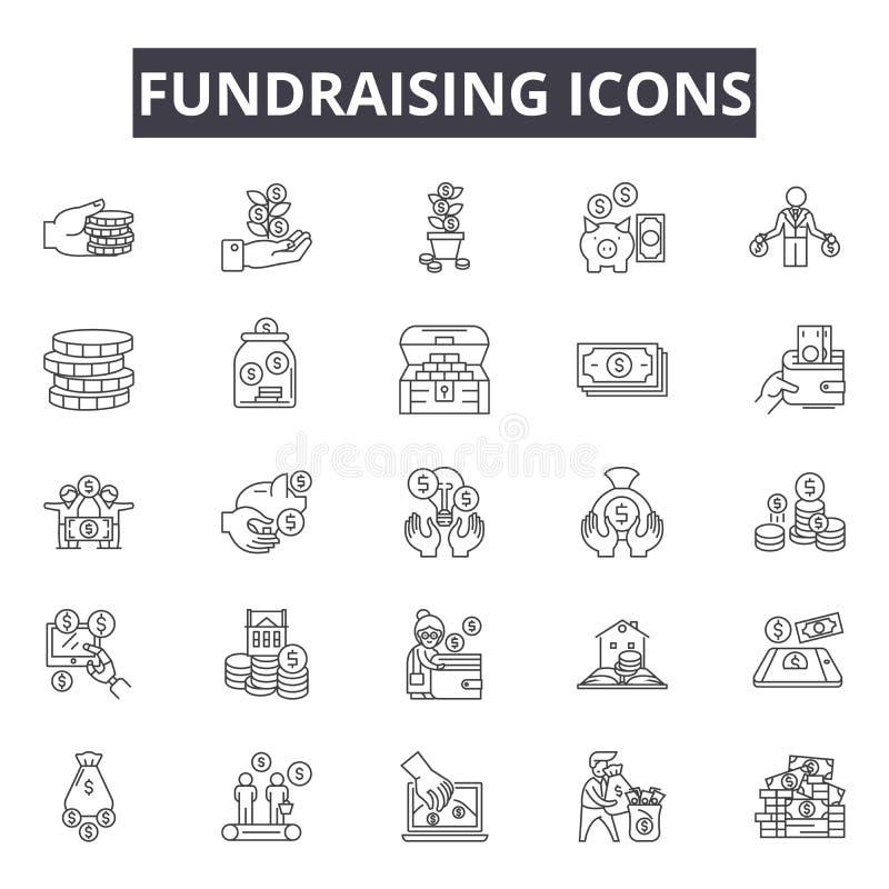 Fundraising linje symboler för rengöringsduk och mobil design Redigerbart slaglängdtecken Fundraising översiktsbegreppsillustrati vektor illustrationer