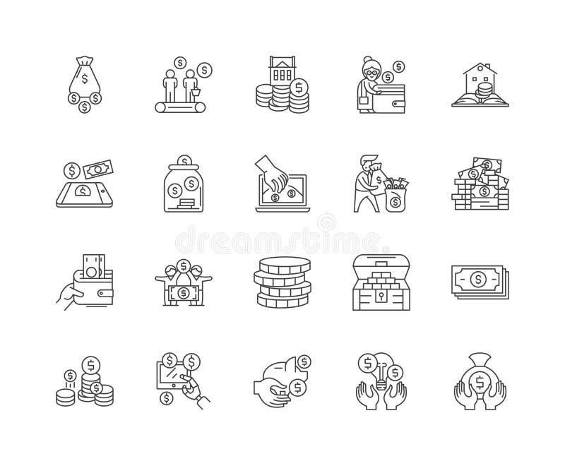 Fundraising linje symboler, tecken, vektoruppsättning, översiktsillustrationbegrepp vektor illustrationer
