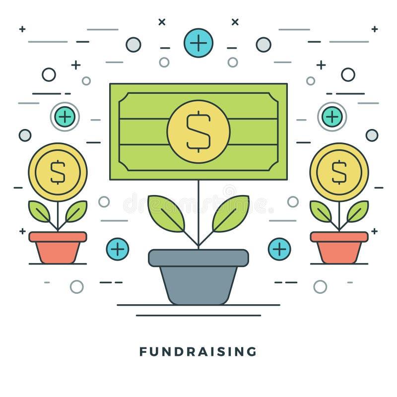 Fundraising liso da linha e ilustração financeira do vetor do conceito do crescimento ilustração royalty free