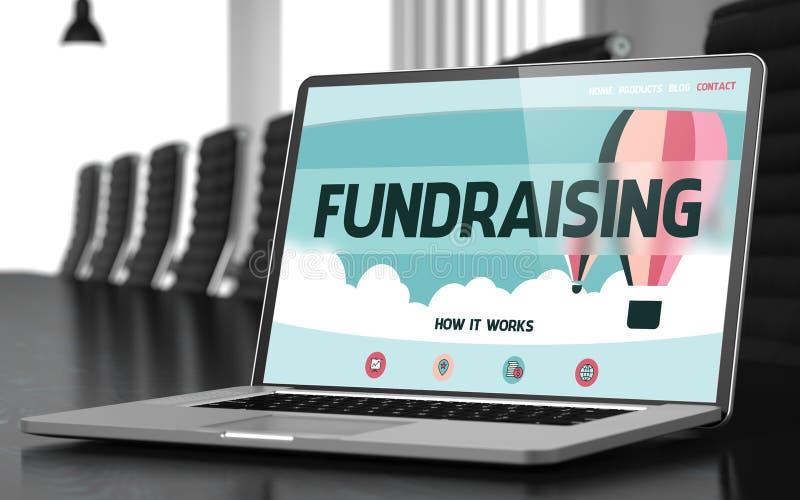 Fundraising på bärbara datorn i mötesrum 3d royaltyfri illustrationer