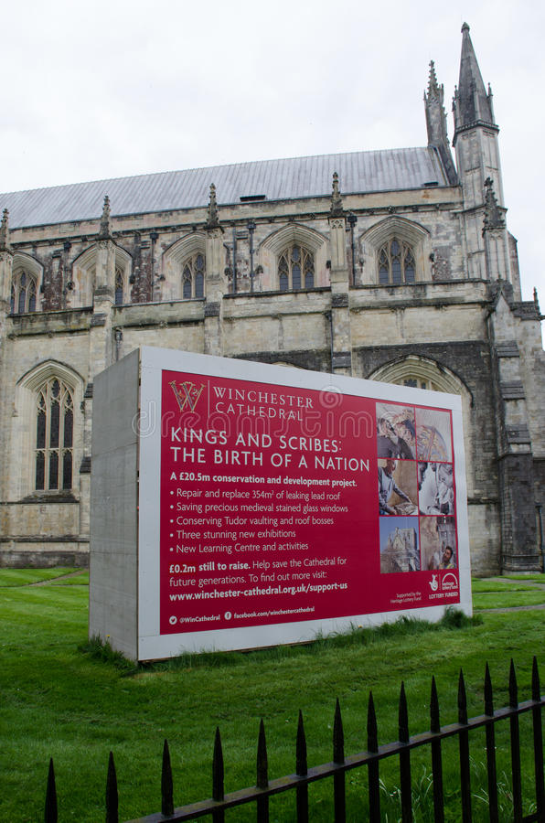 Fundraising signboard outside Winchester Cathedral. Winchester United Kingdom -21 April 2017: Fundraising signboard outside Winchester Cathedral stock photography