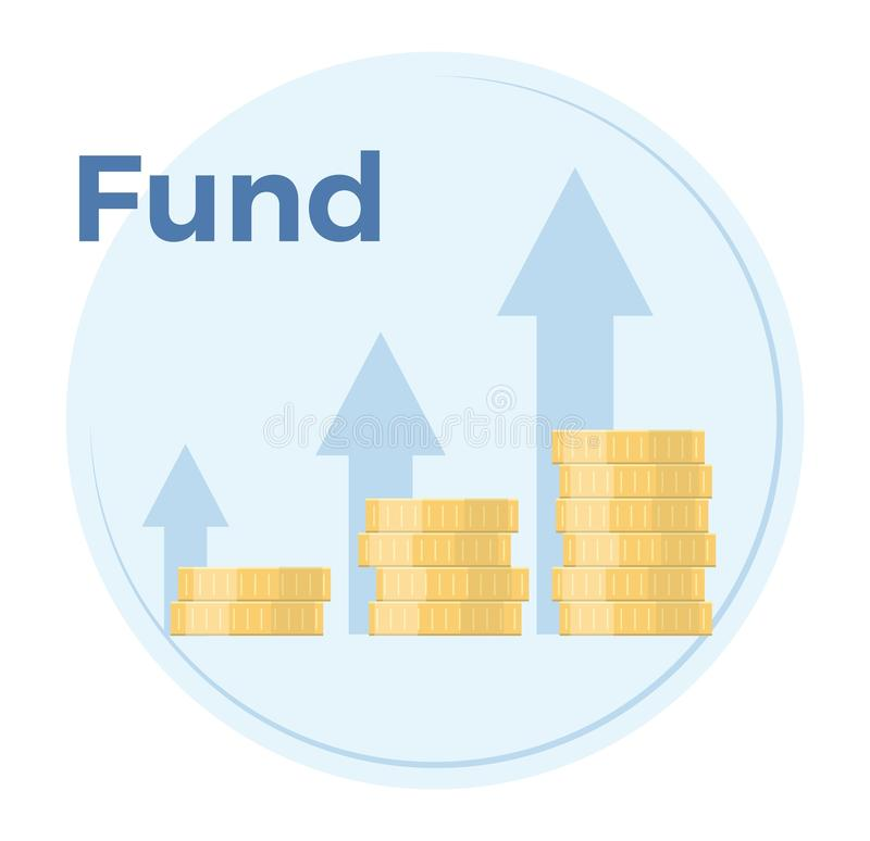 Fundraising vector flat illustration. Income growth chart, mutual fund, financial report graph. EPS 10 royalty free illustration