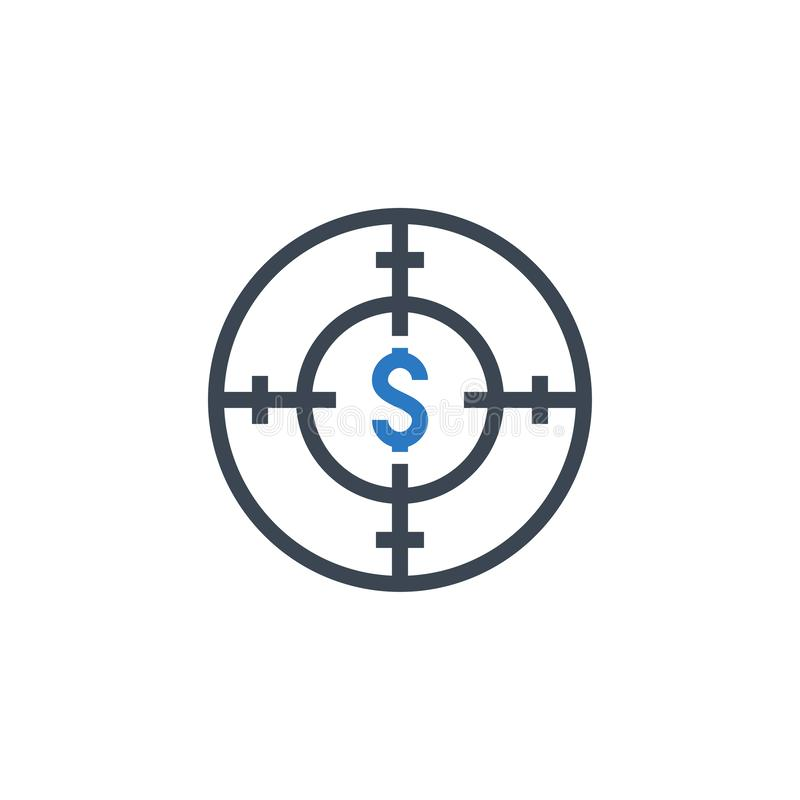 Funds Hunting related vector glyph icon. Isolated on white background. Vector illustration stock illustration