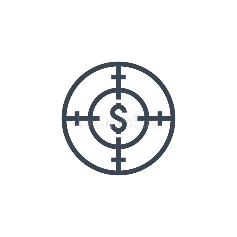 Funds Hunting related vector glyph icon. Isolated on white background. Vector illustration royalty free illustration