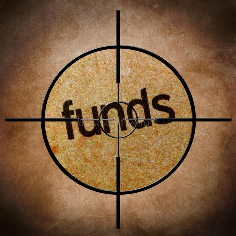 Funds target. CLose up of Funds target stock images
