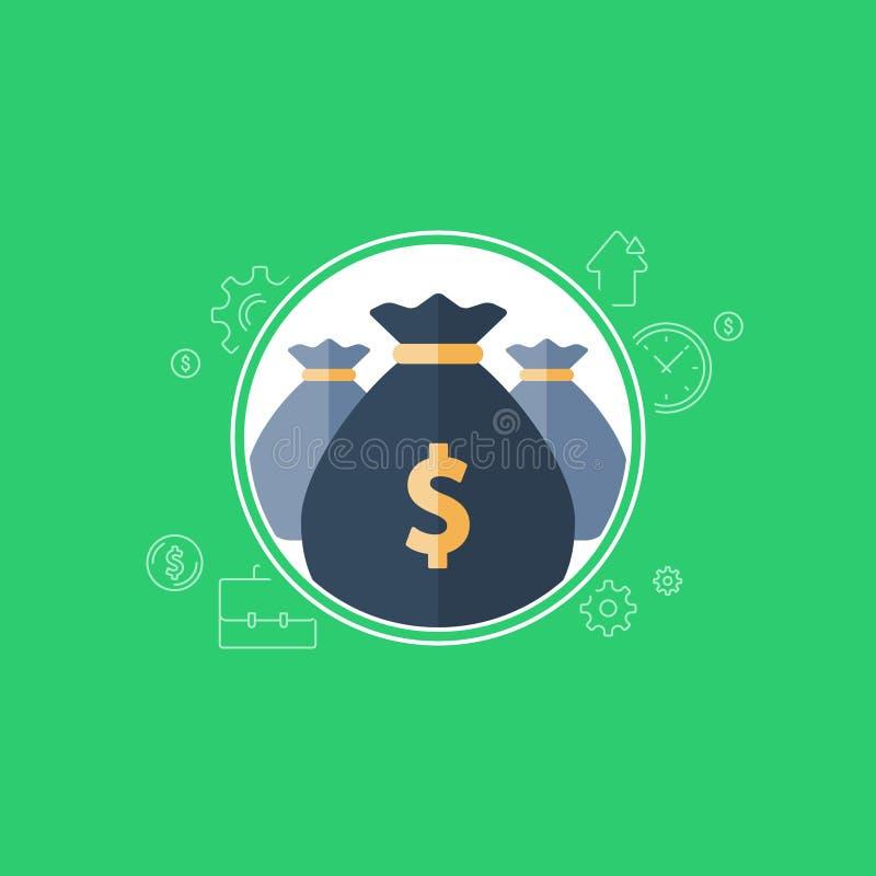 Fundusz emerytalny, bankowość usługa, pieniężna inwestycja, budżeta plan, pieniądze torba, dochodu przyrost, emerytura savings ilustracja wektor