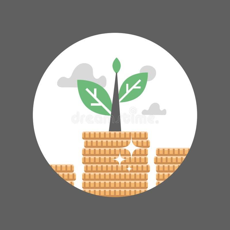 Fundusz emerytalny, monety sterta, inwestycja długoterminowa, rynek papierów wartościowych, fundusz powierniczy, dywidendy zapłat ilustracja wektor
