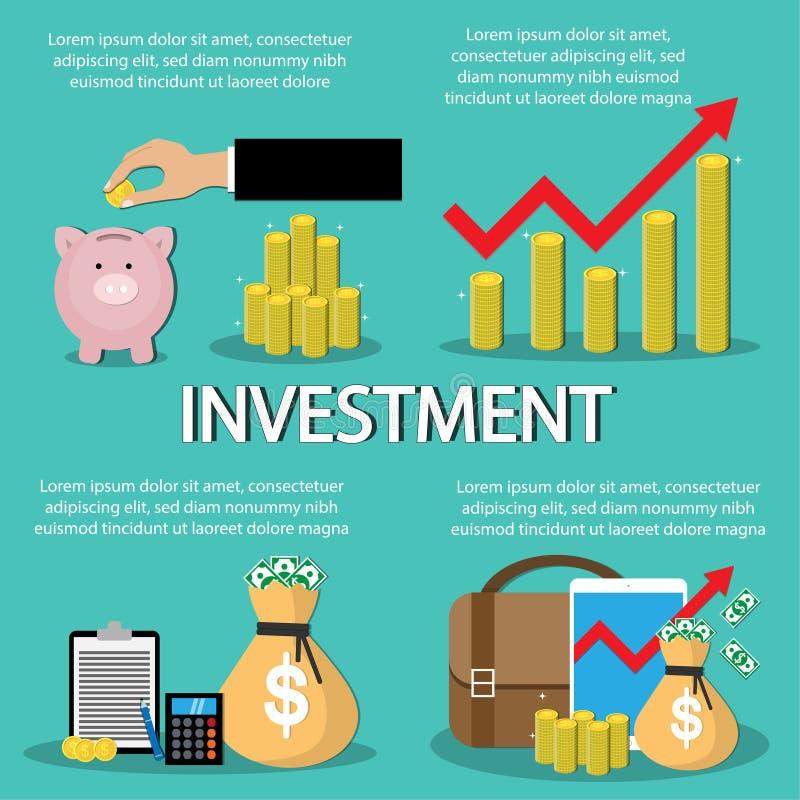 Fundusz inwestycyjny Infographics oszczędzanie pieniądze, przyrost, zysk również zwrócić corel ilustracji wektora royalty ilustracja