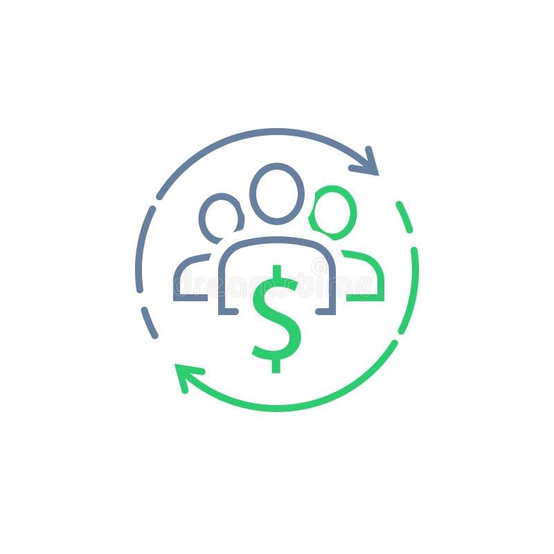 Fundusz powierniczy, korporacyjna usługa, podzielony gospodarki pojęcie, zarządzanie finansami, nowa biznesowa inwestycja, tłumu  royalty ilustracja