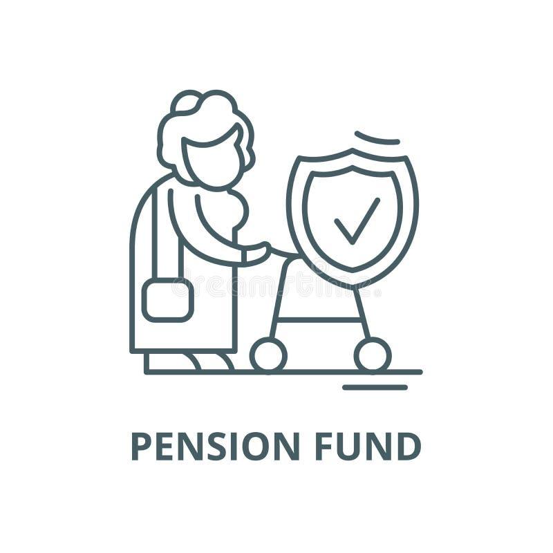 Funduszu emerytalnego wektoru linii ikona, liniowy poj?cie, konturu znak, symbol ilustracja wektor