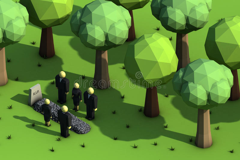 Funeral. People in mourning on a cemetery stock illustration