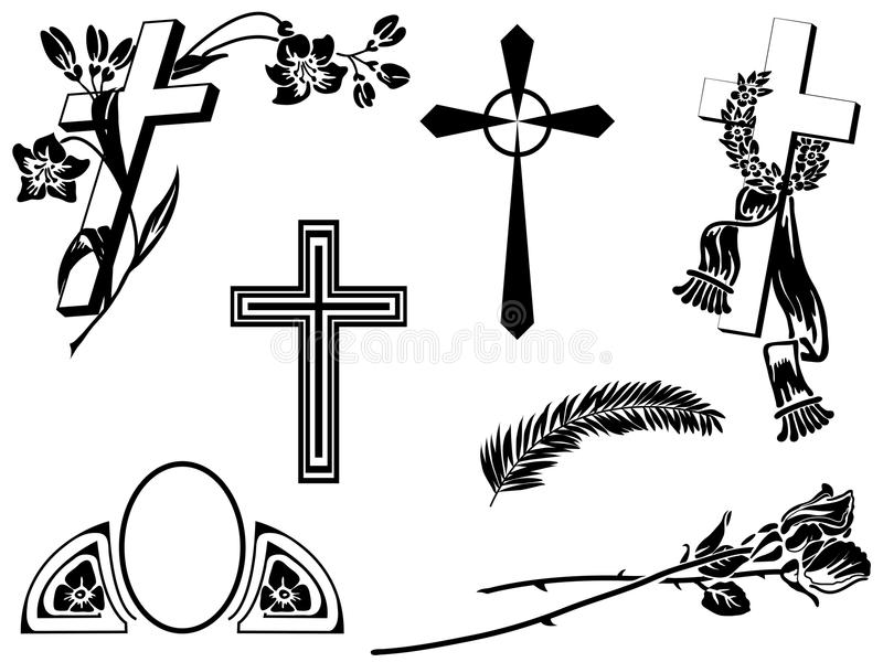 Funeral announcement elements stock illustration