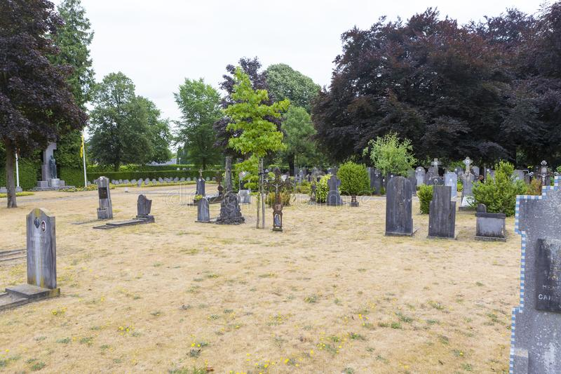 Funeral architecture in Central Cemetery of Bruges Assebroek stock photos