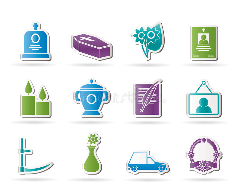 Download Funeral and burial icons stock vector. Illustration of button - 23583652