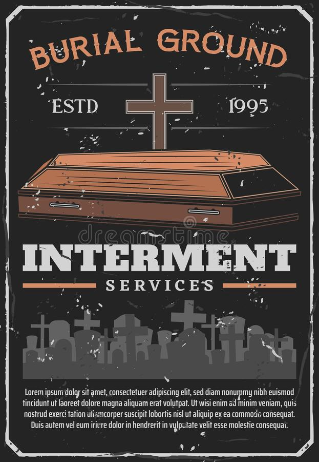 Funeral, burial or interment service on cemetery stock illustration