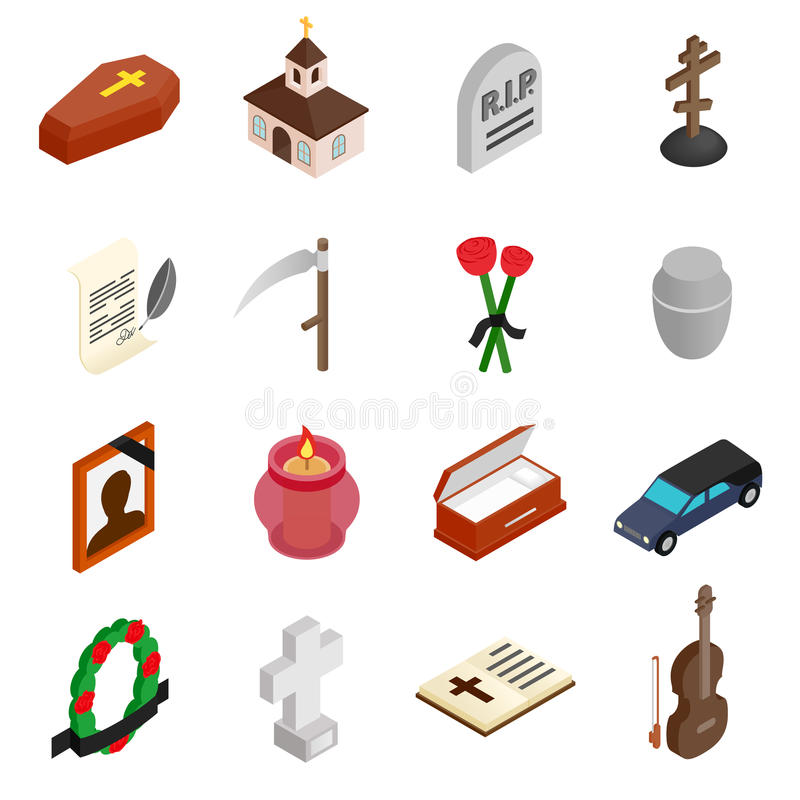 Funeral and burial isometric 3d icons vector illustration