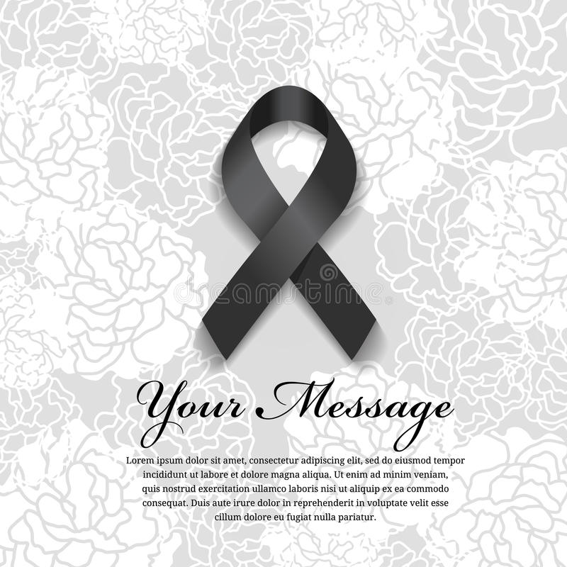 Funeral card - Black ribbon and place for text on soft flower abstract background vector illustration