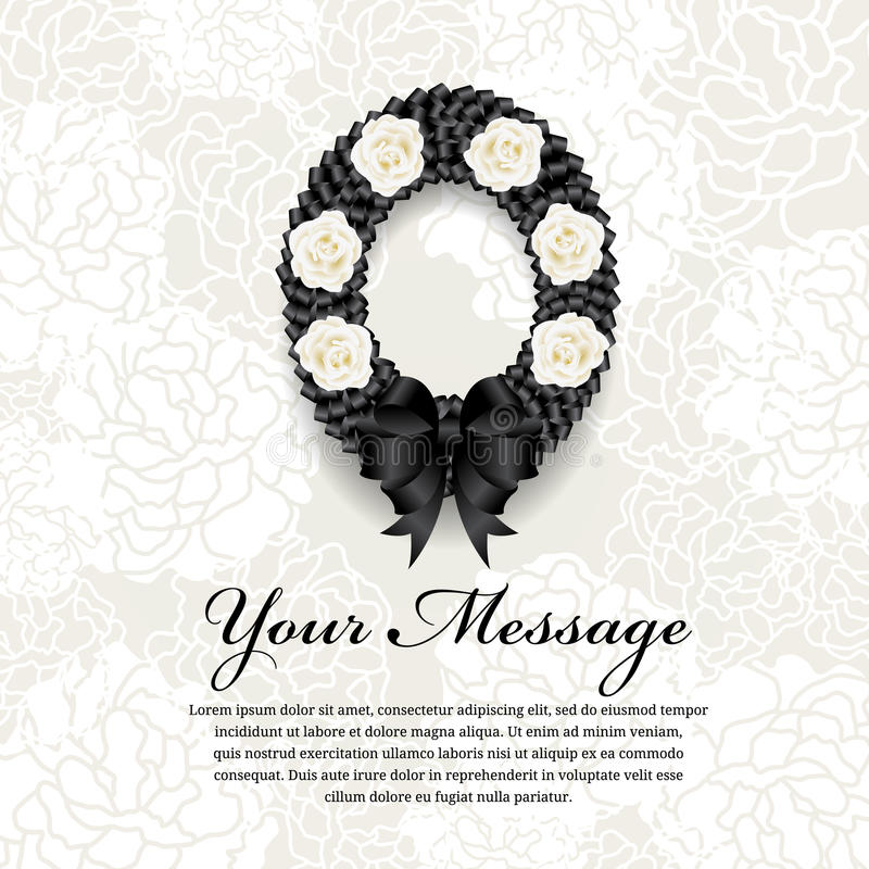Funeral card - Circle Black ribbon wreath bow and white rose on soft flower abstract background vector illustration