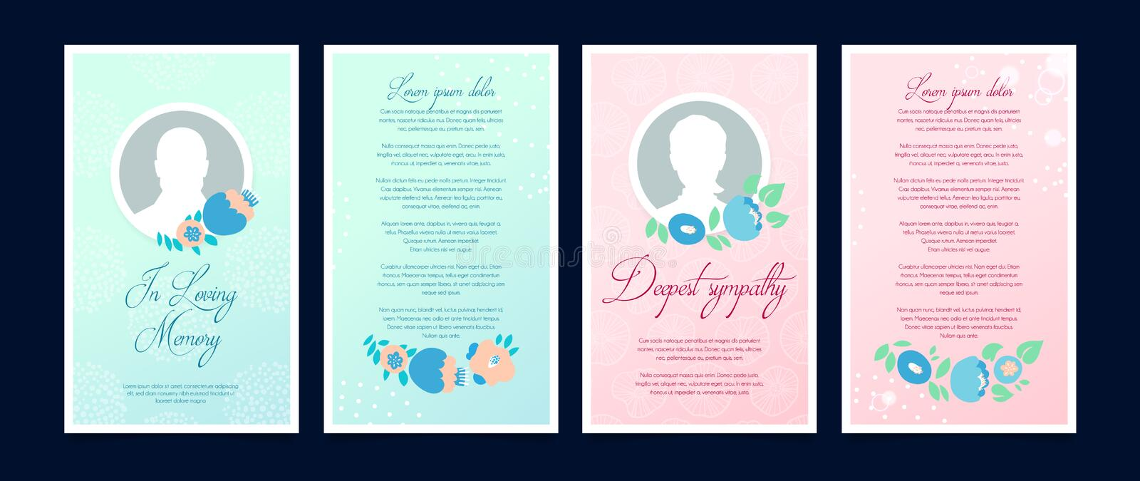 Funeral card with a place for a profile photo royalty free illustration