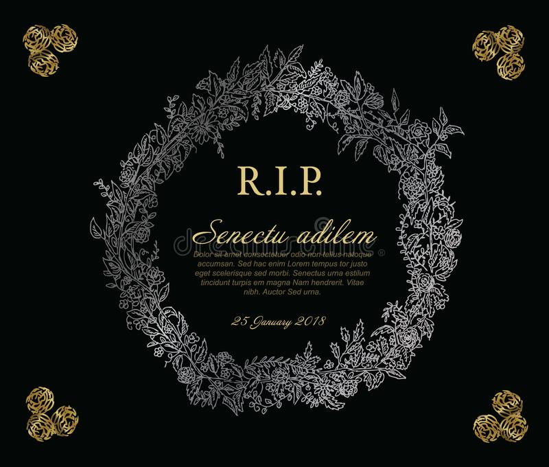 Funeral card template stock vector. Illustration of gold - 108168134