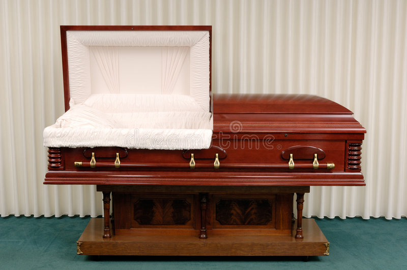 Funeral Casket Stock Photo