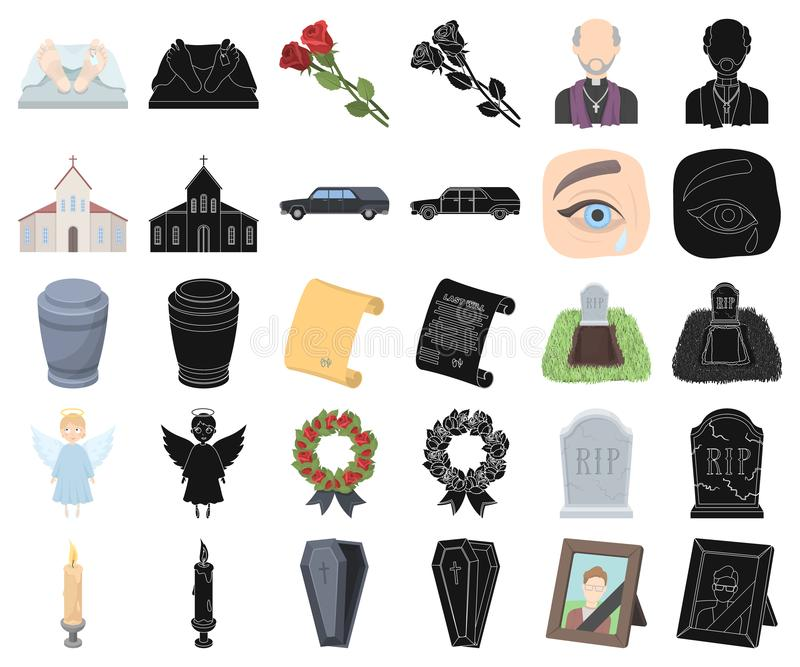 Funeral ceremony cartoon,black icons in set collection for design. Funerals and Attributes vector symbol stock web royalty free illustration