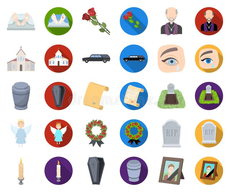 Funeral ceremony cartoon,flat icons in set collection for design. Funerals and Attributes vector symbol stock web stock illustration