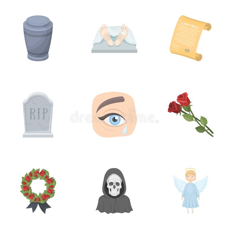 Funeral ceremony, cemetery, coffins, priest.Funeral ceremony icon in set collection on cartoon style vector symbol stock stock illustration