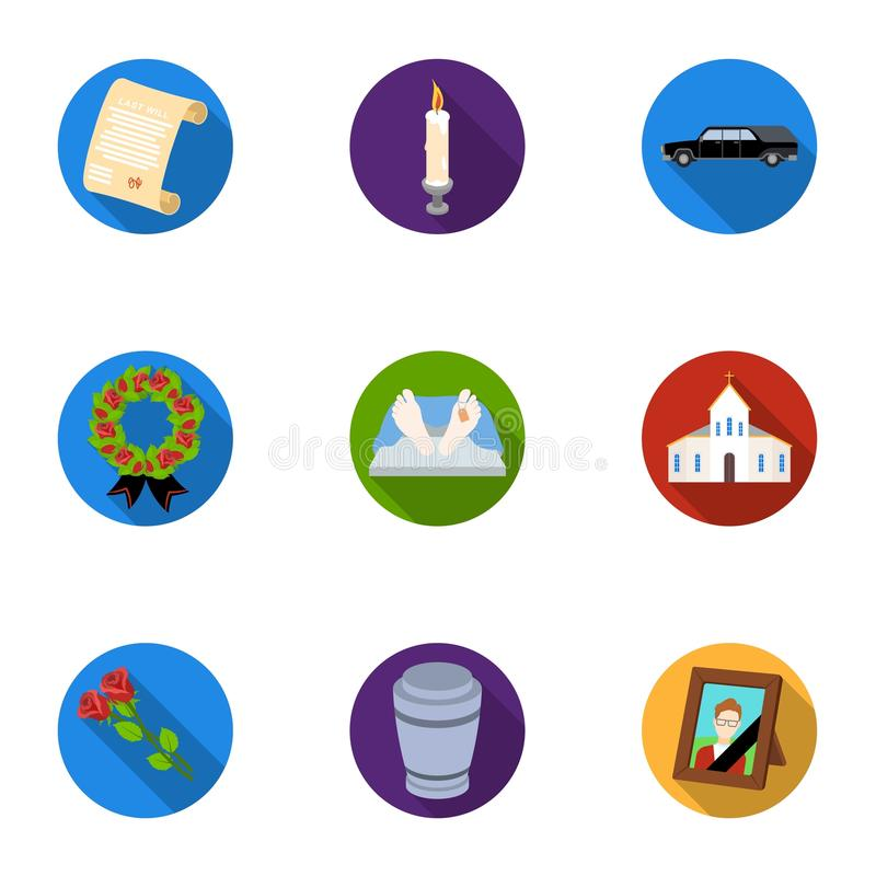 Funeral ceremony, cemetery, coffins, priest.Funeral ceremony icon in set collection on flat style vector symbol stock stock illustration