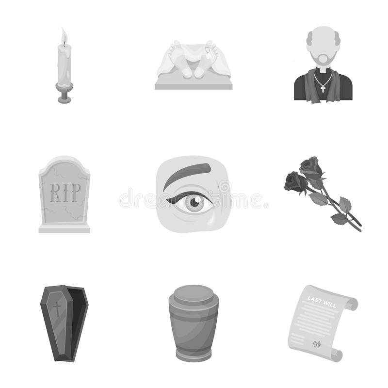 Funeral ceremony, cemetery, coffins, priest.Funeral ceremony icon in set collection on monochrome style vector symbol royalty free illustration