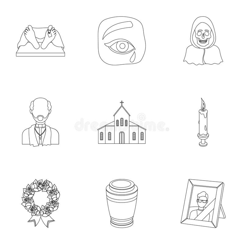 Funeral ceremony, cemetery, coffins, priest.Funeral ceremony icon in set collection on outline style vector symbol stock royalty free illustration