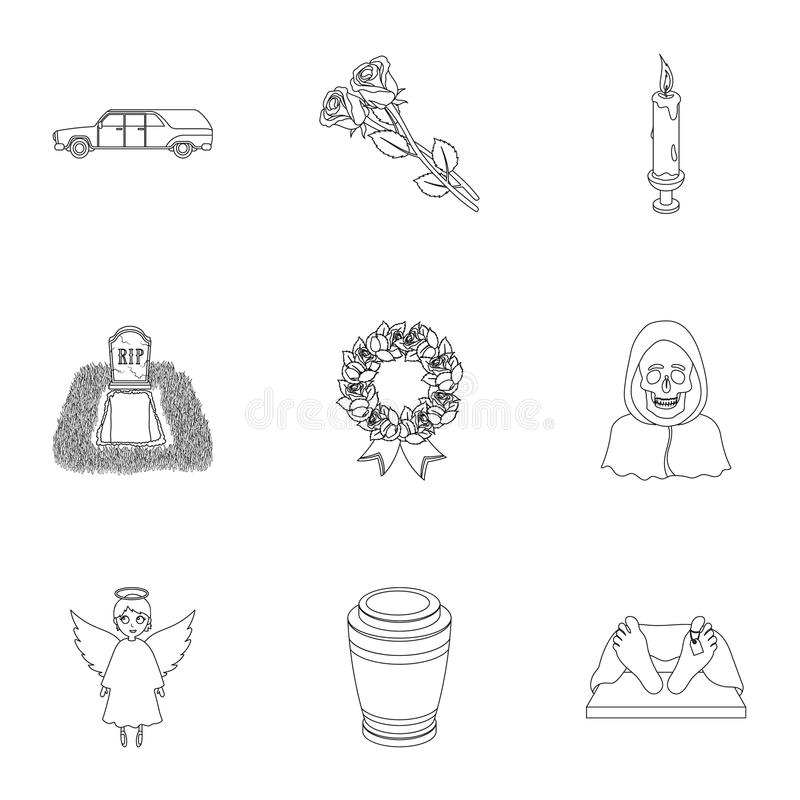 Funeral ceremony, cemetery, coffins, priest.Funeral ceremony icon in set collection on outline style vector symbol stock vector illustration