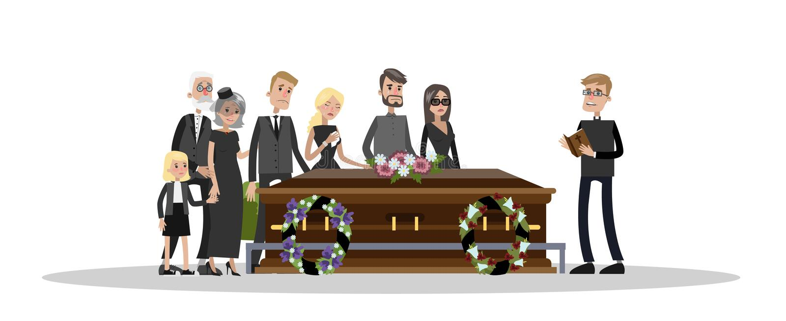 Funeral ceremony at the cemetery. Funeral ceremony on the cemetery. Sad people in black clothes standing with flowers and wreaths around coffin. Isolated vector royalty free illustration