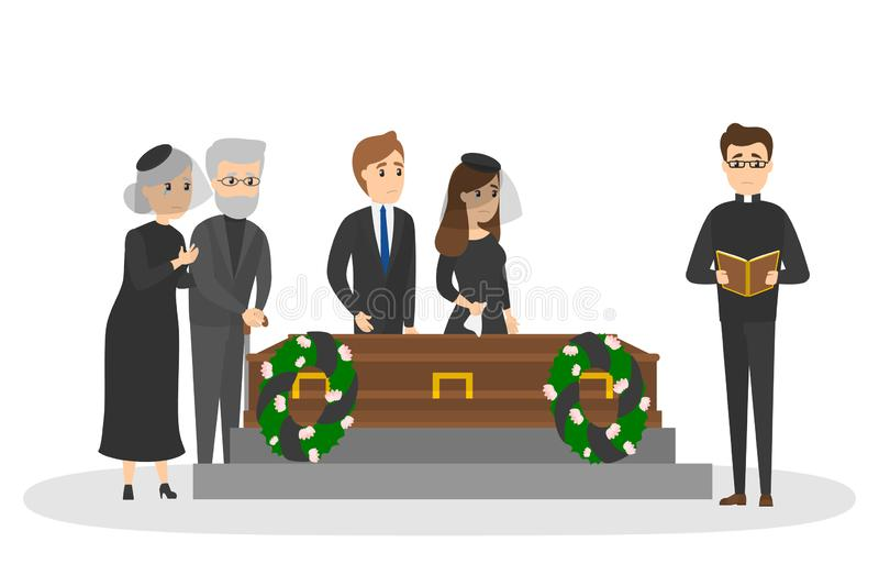 Funeral ceremony on the cemetery with sad people. Funeral ceremony on the cemetery. Group of sad people in black clothes standing with flowers and wreaths around royalty free illustration