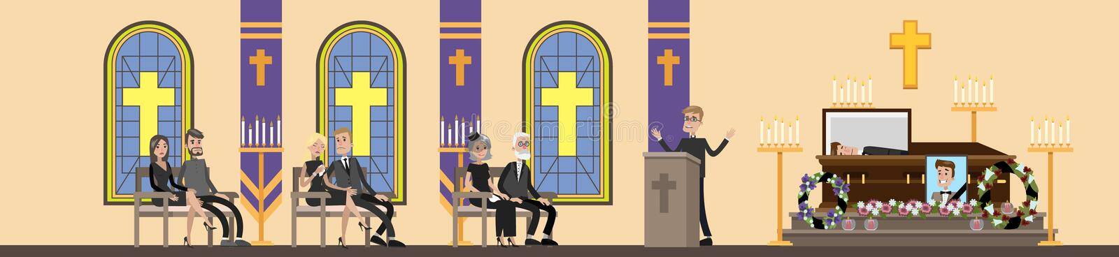 Funeral ceremony illustration. Funeral service in . People in black clothes crying at the memorial ceremony in the church . Vector flat illustration stock illustration