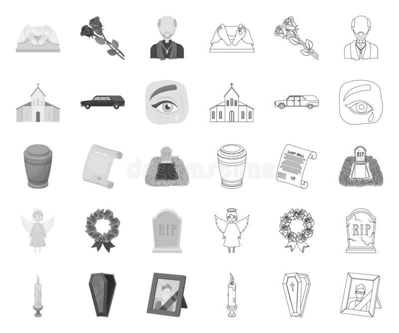 Funeral ceremony mono,outline icons in set collection for design. Funerals and Attributes vector symbol stock web royalty free illustration