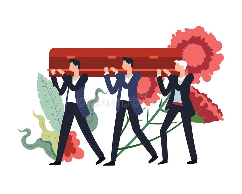 Funeral ceremony people carrying wooden coffin with body. Of deceased person inside vector flowers in bloom and foliage decor men mourning death service burial vector illustration