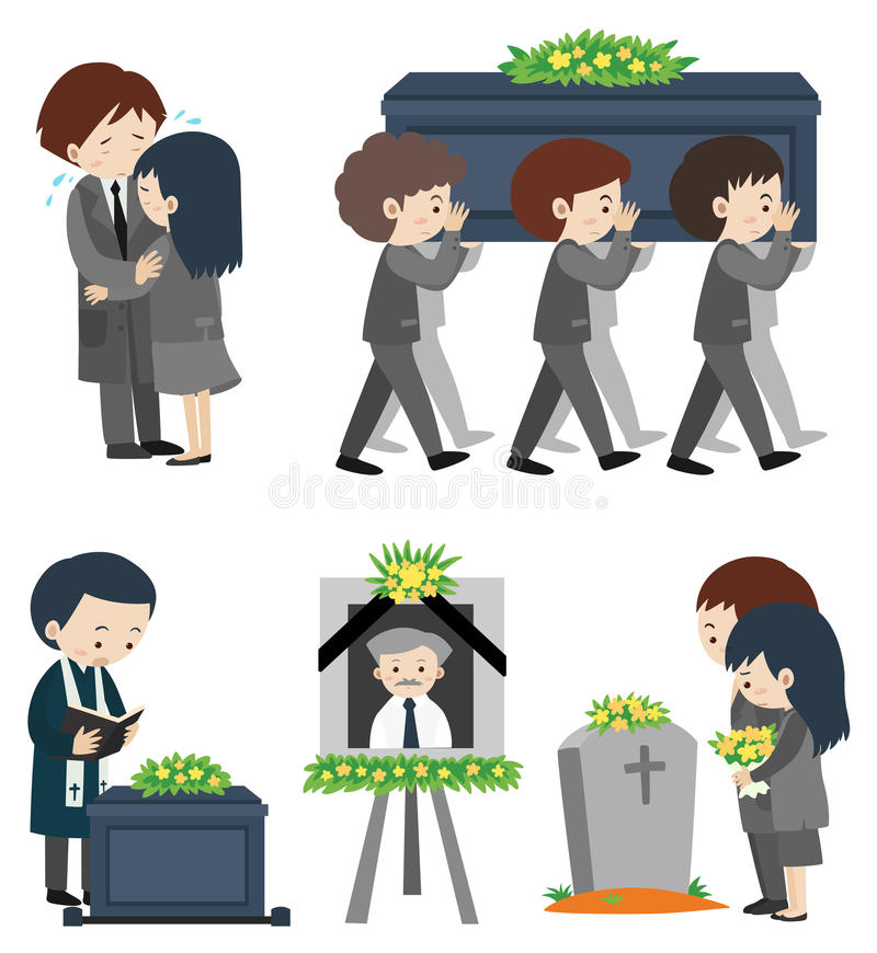 Funeral ceremony with people crying. Illustration royalty free illustration
